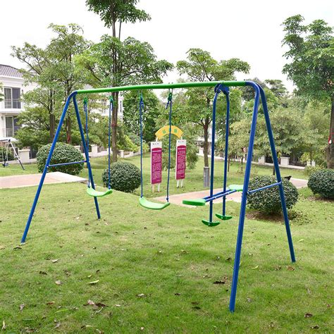 children playground metal swing set swingset outdoor play