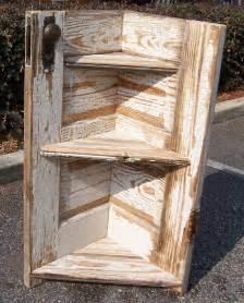 a resale wood corner shelf made from door