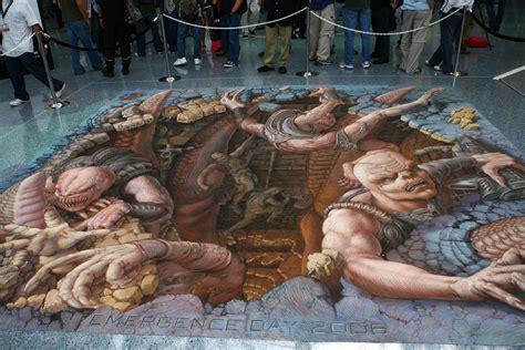 imagenes en 3d en el piso gears of war chalk painting at e3 by kurt wenner