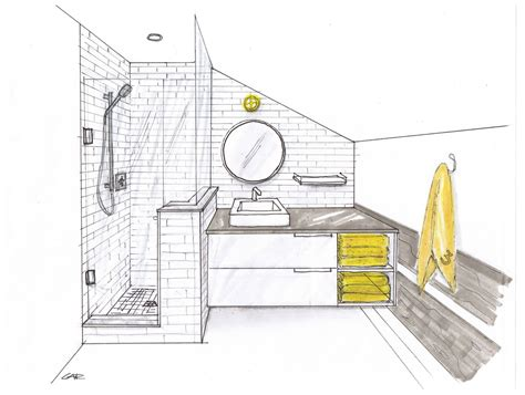 sketch of bathroom bathroom one point perspective google search drawings