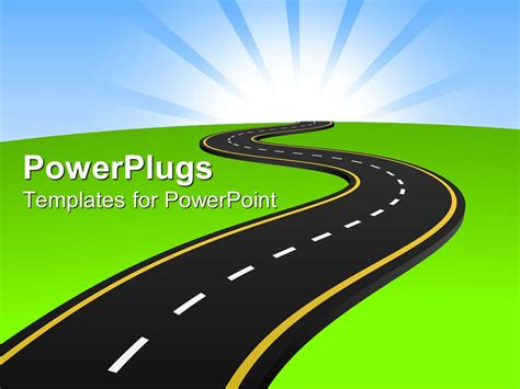 Road Powerpoint Template Powerpoint Template One Way Tarmac Road Through Green Land 16305