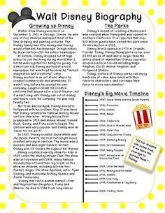 biography essay on walt disney short biography research graphic organizer ela reading