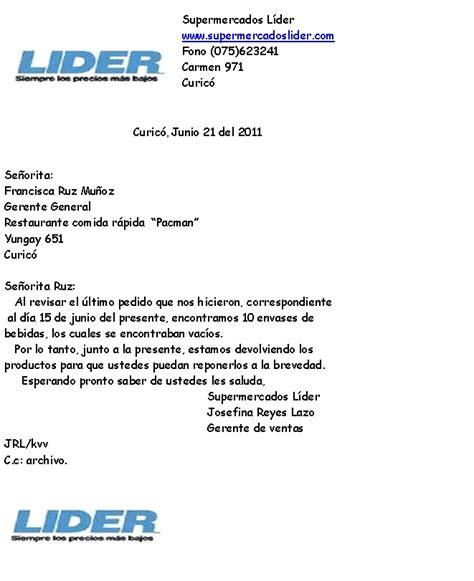 carta formal de reclamacion restaurante comida r 225 pida quot pacman quot carta de reclamaci 243 n valdivia