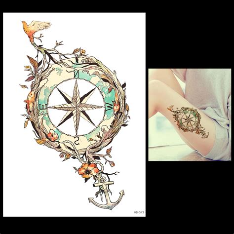 1 sheet temporary tattoo anchor star bird flower compass