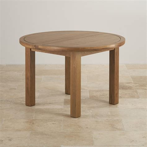 Round Extending Dining Table In Rustic Oak Oak Furniture Rustic Solid Oak Dining Table