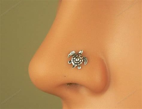 sterling silver tiny turtle nose ring nose stud nose