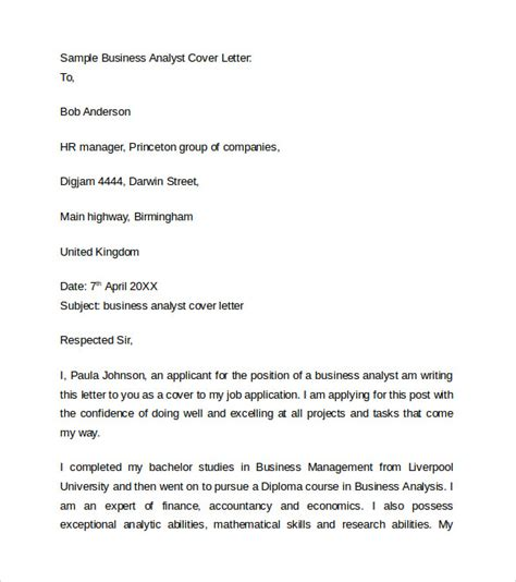 cover letter for analyst position business cover letter 8 free sles exles format