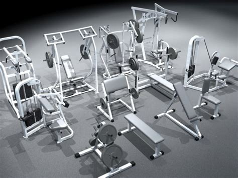 small weight bench set small gym equipment set 3d model