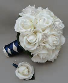 silk flowers for wedding silk flower bridal bouquet real touch roses rhinestone white navy blue songsfromthegarden