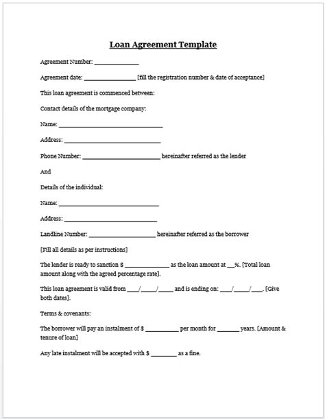 Auto Loan Agreement Template Free free printable personal loan agreement form generic