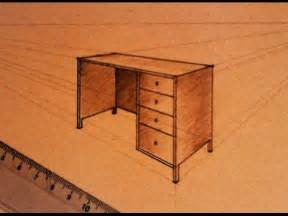 how to draw two point perspective office table