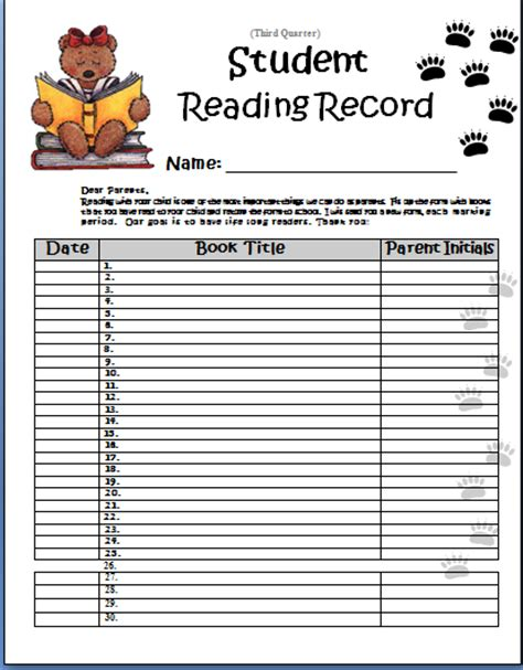 Reading Pa Records Barnowsky Joanne Kindergarten Student Reading Record