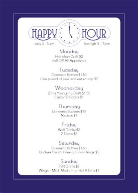 cocktail happy hour table tent happy hour menu