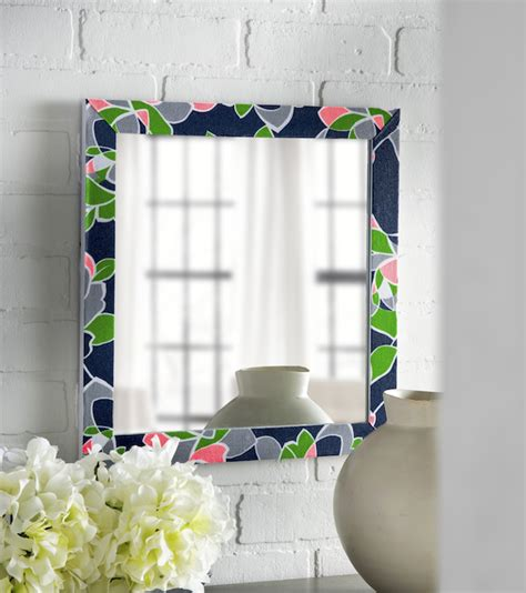 decoupage mirror ideas diy mirror with fabric and decoupage mod podge rocks