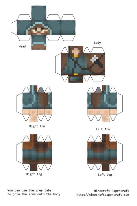 Minecraft 3d Papercraft - ranger 3d details papercraft included minecraft skin