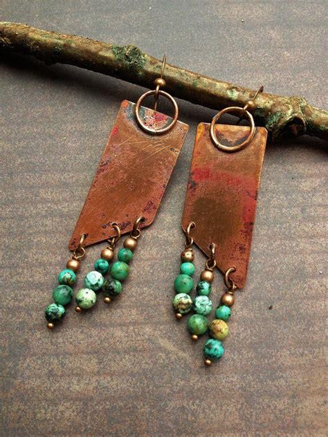 make copper jewelry copper earrings turquoise earrings copper jewelry