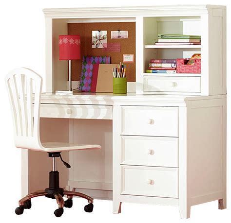 Childrens Desk With Hutch Lea Willow Run 4 Drawer Desk With Hutch Chair In Linen White Traditional Baby And