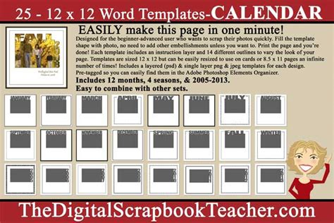 scrapbook templates microsoft word 12 x 12 word templates calendar download only the