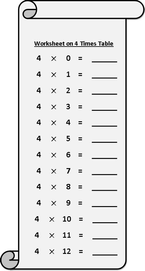 Time Table Of 4 by Worksheet On 4 Times Table Multiplication Table Sheets