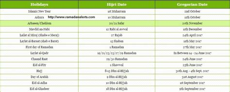 islamic calendar with muslim holidays
