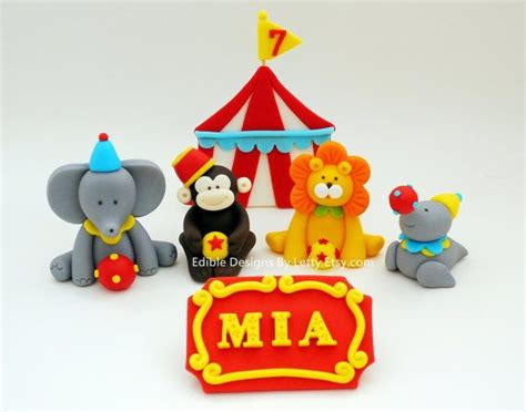 circus cake toppers 4 edible fondant circus animals cake topper with circus tent name s