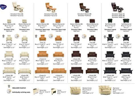 ekornes stressless recliner and sofa sizes dimensions