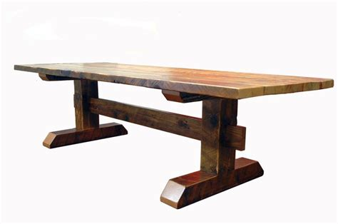 reclaimed timber frame trestle table farm table custom