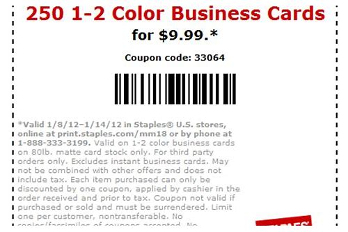 business card coupon staples
