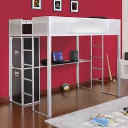 powell rock and roll size metal loft bed with study desk