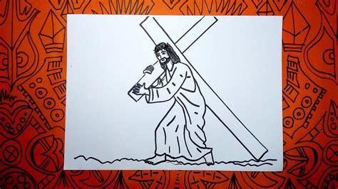 imagenes a lapiz de jesus en la cruz aprende a dibujar a jesus con la cruz en el viacrucis