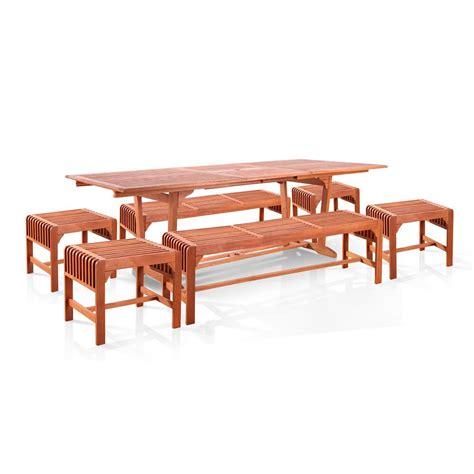 7 piece dining set with bench vifah malibu wood 7 piece outdoor dining set extention