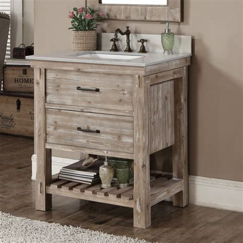 Rustic Style Bathroom Vanities Rustic Style Matte Ash Grey Limestone Top 30 Inch Bathroom Vanity Free Shipping Today