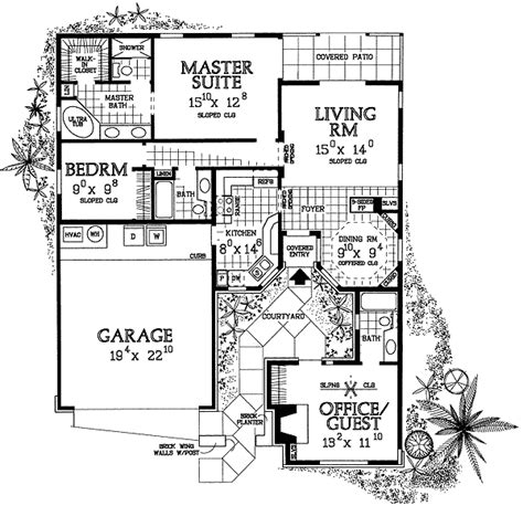 House Plan With Entry Courtyard 81321w 1st Floor Single Level House Plans With Courtyard