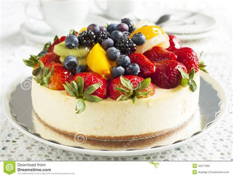 Fruit Cheese Cake cheesecake topped with berries and fruits stock photo image 42377680