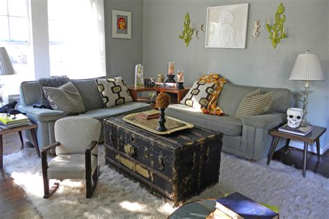 living room trunk trunk coffee table living room eclectic with area rug