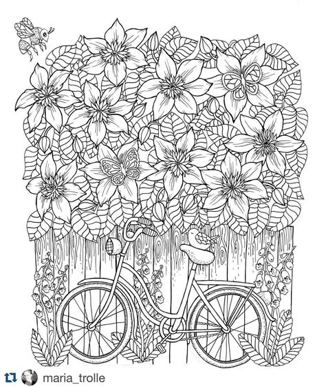 libro twilight garden coloring book bike and clematis from my upcoming coloring book mariatrolle coloring pages