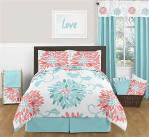 turquoise and coral emma 3pc girls teen full queen