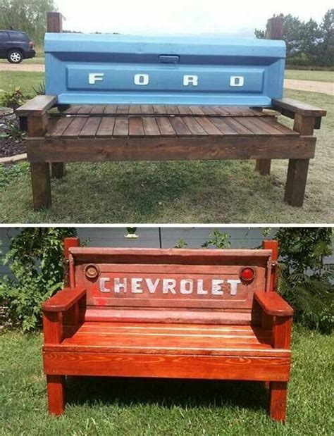 truck tailgate bench truck tailgate made into rustic bench benches pinterest