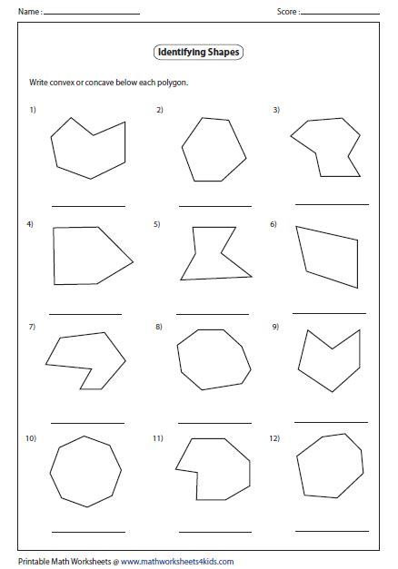 free printable identifying shapes worksheets convex and concave shape worksheets identify concave or