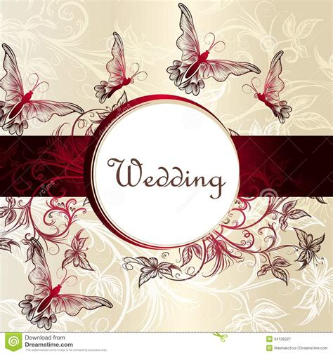 free wedding card designer wedding invitation card for design stock vector