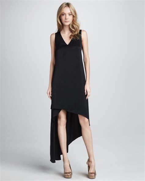 bcbgmaxazria avery v neck asymmetric dress in black lyst