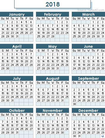 2018 calendar australia | yearly printable calendar