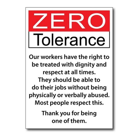 Jaf Graphics Zero Tolerance Workplace Signs Pk 2 Zero Tolerance Policy In The Workplace Template