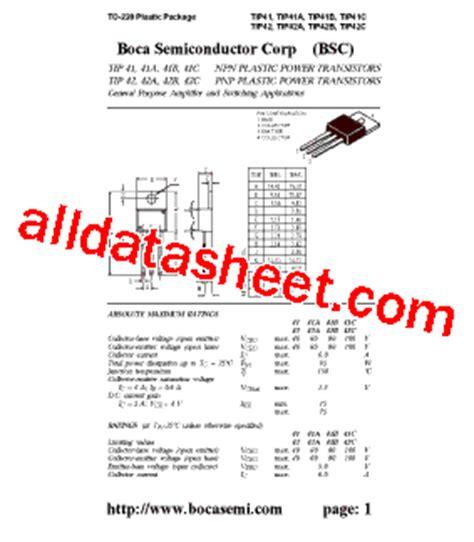 tip41 transistor datasheet pdf tip41 datasheet pdf boca semiconductor corporation