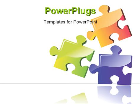 powerpoint templates puzzle illustration of three colour puzzle boards with building
