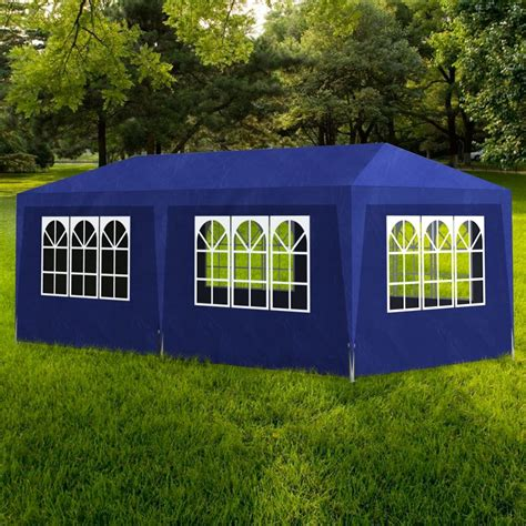 gazebo 3x6 tenda para festa 3x6 6 paredes azul www vidaxl pt