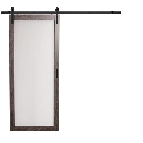Frosted Glass Barn Door Truporte 36 In X 84 In Iron Age Gray Mdf Frosted Glass 1 Lite Design Barn Door With Rustic