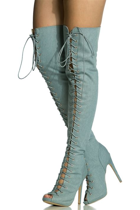 open toe thigh high boots denim lace up open toe thigh high boots cicihot boots