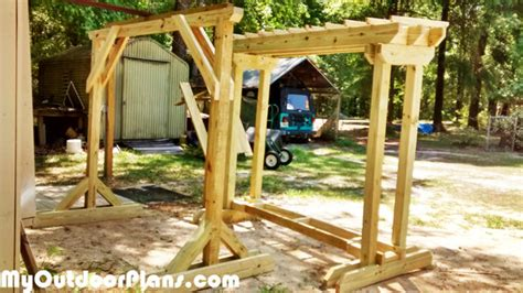 swing stand plans diy wood swing stand myoutdoorplans free woodworking