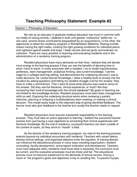 Exle Of Philosophical Essay by Teaching Statement Best Template Collection